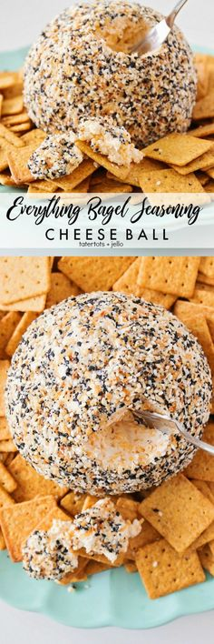 Everything Bagel Seasoning Cheese Ball Recipe perfect for the holidays! Everything Bagel Seasoning Cheese Ball Recipe perfect for the holidays! Finger Food Appetizers, Yummy Appetizers, Appetizers For Party, Finger Foods, Appetizer Recipes, Appetizer Dinner, Party Fingerfood, Dinner Recipes, Parties Food