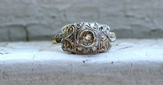 Lovely Antique 18K Yellow Gold Diamond Cluster Engagement Ring.
