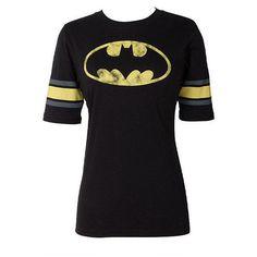 Batman Raglan ($20) ❤ liked on Polyvore featuring tops, shirts, batman, 10. tops., blusas, black shirt, raglan top, raglan shirts, shirts & tops and raglan sleeve shirts