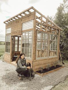 How I Built my Dream Greenhouse - Arrows & Twine Diy Greenhouse Plans, Backyard Greenhouse, Backyard Landscaping, Old Window Greenhouse, Outdoor Projects, Garden Projects, Garden Structures, Garden Spaces, Dream Garden
