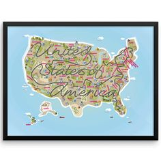 United States Map Map Of Usa USA Capitals USA States Wall Art - Capital cities of usa