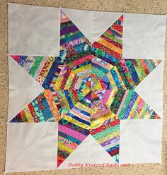 This is the center of a much larger quilt. The 45 degree diamonds are string pieced on newsprint. A perfect scrap buster! Big Block Quilts, Quilt Blocks, Scrap Busters, Quilt Patterns, Blanket, Stars, Crochet, Fabric, Projects