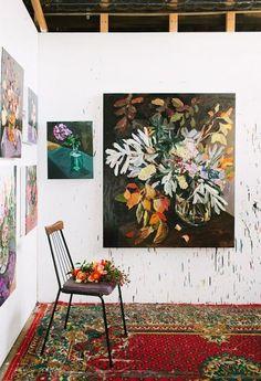 bright blooms: fresh summer florals Artist Laura Jones' studio via The Design Files. Photo by Rachel Kara.