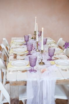 A pretty tablescape with purple goblets, pale yellow placemats, chiffon table runner Wisteria Wedding, Lilac Wedding, Wedding Tips, Wedding Styles, Yellow Wedding, Spring Wedding, Barn Wedding Decorations, Barn Wedding Venue, Yellow Placemats