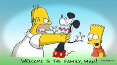 The Simpsons Say Hello To Mickey Mouse