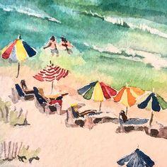 2015 Nancy Murphree Davis nmdART.com Beach Day, Watercolor, Artwork, Fun, Painting, Instagram, Pen And Wash, Watercolour, Work Of Art