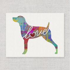 Weimaraner (Weim) Love - Watercolor-Style Print / Poster on Fine Art Paper - Can Be Personalized => You will love this! More info here : Handmade Gifts