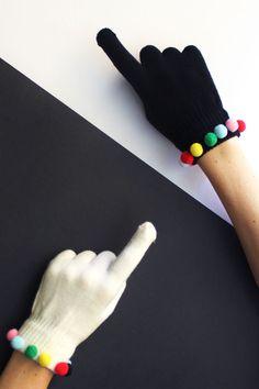 DIY Pom Pom Gloves Tutorial