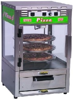 The Roundup Pizza Station combines a self-contained oven to bake refrigerated or frozen pizzas, with a rotating display rack in a heated and lighted display area. The oven is thermostatically controlled and does not require setting or adjustment.  http://www.katom.com/085-PS314.html