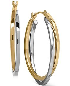Two-Tone, Gold or White Gold Intertwined Hoop Earrings in 14k Gold and 14k White Gold