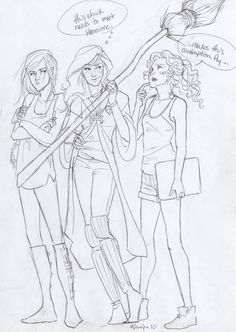Nice, left to right; Katniss Everdeen (Hunger Games) Ginny Weasley (Harry Potter) and Annabeth Chase (Percy Jackson)