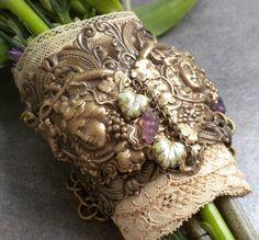 Vineyard Wedding Bouquet Wrap Cuff Bracelet by Serrelynda on Etsy, $54.00