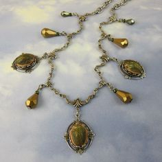 Scarab Necklace 1920s Art Deco Necklace Egyptian Green Beetle with Antique Silver Filagree Romantic Gothic