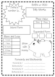 Daily Number to – Target Number Classroom Treasures: Numeracy. Do one each day until you celebrate the day of school. Also links to other math freebies. Maths 3e, Primary Maths, Math Classroom, Kindergarten Math, English Kindergarten, Classroom Ideas, Teaching Spanish, Fun Math, Math Activities