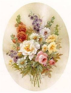 floral painting by Lena Liu Decoupage Vintage, Vintage Diy, Vintage Cards, Vintage Paper, Vintage Images, Art Floral, Floral Prints, Art Prints, Flower Images