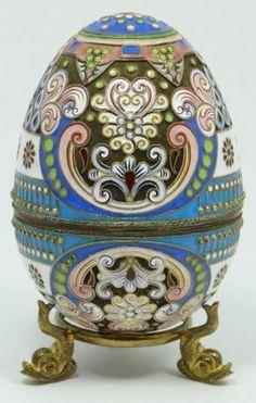 Imperial Russian silver enameled egg  box by  Pavel Akimov Ovchinnikov
