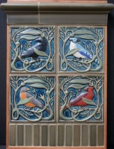 A beautiful grouping of birds from Rookwood Tiles Arts And Crafts Movement, Art And Craft Design, Design Crafts, Craftsman Tile, Craftsman Decor, Clay Tiles, Art Tiles, Art Nouveau Tiles, Rookwood Pottery