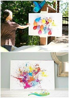 DIY BALLOON DART PAINTING WITH KIDS This looks like a LOT of fun!!!  ===  Balloon Dart Painting with Kids. A fun and creative way to paint outdoors!<br> DIY BALLOON DART PAINTING WITH KIDS Fun Diy Crafts, Fun Crafts For Kids, Diy Arts And Crafts, Diy For Kids, Wood Crafts, Geek Crafts, Creative Crafts, Creative Kids, Diy Balloon