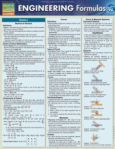 Physics: Equations & Answers Laminated Study Guide - BarCharts Publishing Inc makers of QuickStudy Engineering Science, Electrical Engineering, Civil Engineering, Industrial Engineering, Chemical Engineering, About Engineering, Mechanical Engineering Projects, Physics Formulas, Fluid Mechanics