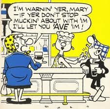 Andy Capp and his headscarfed wife, Flo. A slice of Brit pub/working class life. Andy Capp, Cartoon Jokes, My Generation, Classic Cartoons, Can't Stop Laughing, Vintage Cartoon, Calvin And Hobbes, Illustrations, Old Postcards