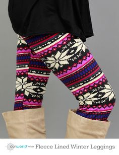 Winter Fleece Lined Purple Snowflake Leggings. #leggings #snowflake