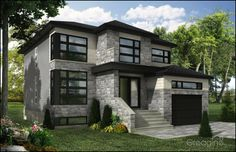 moderne Modern House Plans, Modern House Design, Building Design, Building A House, Dream House Exterior, Modern Exterior, House Layouts, House Goals, Home Fashion
