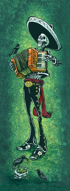 The mariachi plays his squeezebox for an unkindness of ravens while they ruthlessly steal his tips. Painting Process The 8 x 25 aquaboard was painted with a host of acrylics to create a simple, yet co