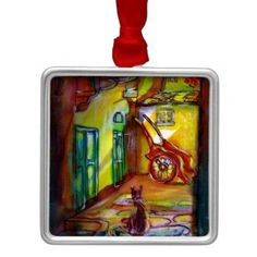 MEDIEVAL ALLEY BY NIGHT IN FLORENCE WITH BLACK CAT METAL ORNAMENT - home decor design art diy cyo custom