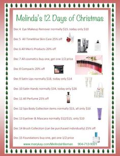Melinda's 12 Days of Christmas. Contact me at melindahileman@marykay.com to order! Mention this pin and get 10% off!    https://sphotos-a.xx.fbcdn.net/hphotos-snc6/261450_311237775647615_981449499_n.jpg