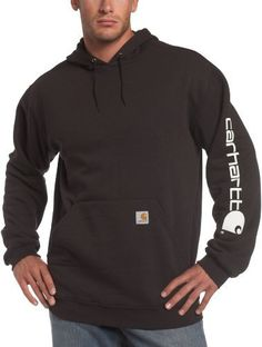 """Carhartt Men's Midweight Hooded Logo-Sleeve Sweatshirt Carhartt. $46.95. *attached hood. 0.00"""" wide. cotton. Imported. 0.00"""" high. Machine wash cold - like colors. Machine Wash. *10.5-ounce, 50% cotton/50% polyester blend, midweight. 50% Cotton, 50% Polyester"""