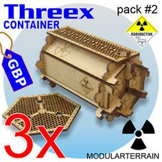 3-THREEX-CONTAINERS-RADIOACTIVE-MDF-SCIFI-SCENERY-TERRAIN-INFINITY-28mm-WARGAMES