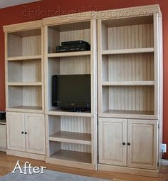 Would LOVE to do this with our two rinky-dink veneer bookshelves, and throw them in the guest room!! :)