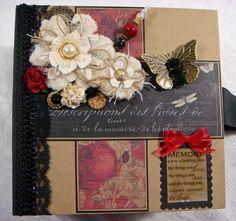 """TPHH Sharon Chipboard PREMADE Vintage Keepsake PRIMA Photo Scrapbook Album 8""""x8"""""""