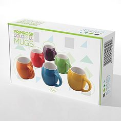 primrose colorful mugs by madero kitchen set of 6 ceramic mugs small mouth 14oz - Colorful Mugs