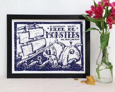 Here be Monsters Linocut Print  - Sea Monster Lino Print, Nautical Print, Sailor Tattoo, Bathroom Print, Kraken, Ship Tattoo,