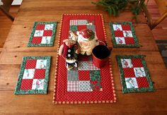 Christmas Patchwork table setting - quilted table runner - 6 quilted placemats/mug rugs - RESERVED FOR WENDI