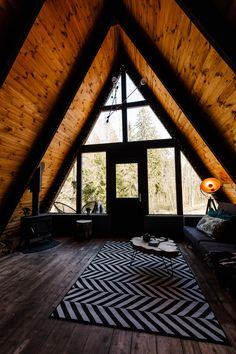 Perfect place to escape the city. The Black A-Frame and Cozy Cottage. Closer to nature. Cabin Interior Design, Cabin Design, Home Room Design, Tiny House Design, A Frame House Plans, A Frame Cabin, Future House, My House, Minimal Home