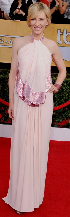 Cate Blanchett looked stunning in a blush hued Givenchy dress.