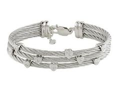 Sterling Silver and Stainless Steel 0.03 CT TDW Diamond White Cable Bangle Bracelet