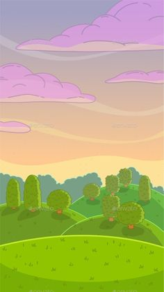 Cartoon Evening Nature Landscape by Lilu330 Funny cartoon evening nature landscape, vector illustration, vertical size background for mobile phone screen