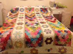 Made by Marj Traynor on facebook. Hexagon quilt