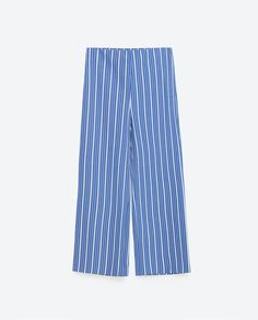 Image 8 of STRIPED CROPPED TROUSERS from Zara
