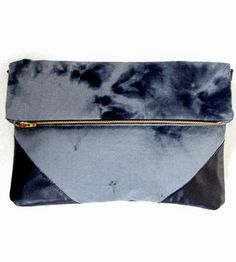 Dyed Grey & Black Foldover Clutch