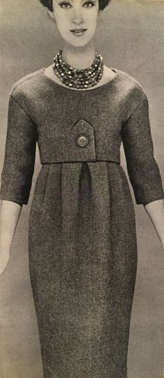 Christian Dior- 1958 China dead leaf tweed sheath dress with a faux bolero top. Elle No. 662- September 1, 1958