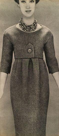 Christian Dior- 1958 China dead leaf tweed sheath dress with a faux bolero top. Elle No. 662- September 1, 1958