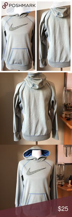 "Nike ""therma-fit"" hoodie. Gray hoodie with blue hood lining and textured green Nike logo on front. Nike Tops Sweatshirts & Hoodies"