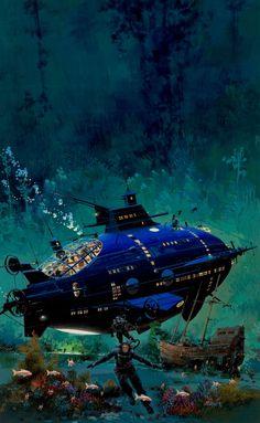 Jules Verne, Leagues Under the Sea book cover, in Albert Moy's John Conrad Berkey Comic Art Gallery Room Jules Verne, Art Science Fiction, John Berkey, Art Gallery, 70s Sci Fi Art, Arte Tribal, Leagues Under The Sea, Life Aquatic, Guache