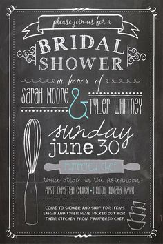 Kitchen Themed Bridal Shower Invitation, Chalkboard Style, Pampered Chef, No. 22 via Etsy.   Love love love this.