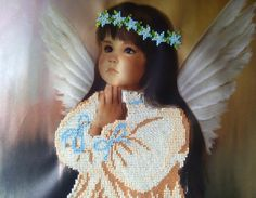Beaded painting Praying Angel. Home decor. Kids room wall dedor. Embroidery art. Hand embroidery design. Ill be your guardian angel, your sweet company here....  Hand embroidery. Czech beads. Size 25.5cm x 31.5cm (10 x 12.5) The picture is embroidered on atlas. It will be a great decoration of kids bedroom or a gift for someone you care about.  You can find my other works here:  https://www.facebook.com/FairyBeadsStore https://twitter.com/NataliaLynxy https:&#x2F...