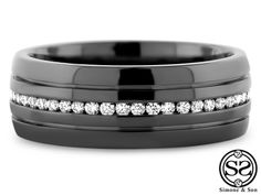 Black Rhodium Finished Men's Wedding Band by Simone & Son | Orange County Custom Jewelry